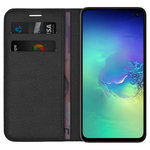 Leather Wallet Case & Card Holder Pouch for Samsung Galaxy S10e - Black